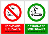 No smoking and Smoking area labels - Set 3 — Stock Vector