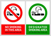 No smoking and Smoking area labels - Set 5 — Stock Vector