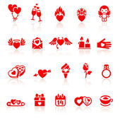 Set valentine's day red icon — Stock Vector