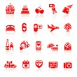 Set valentine&#039;s day red icons, romantic travel symbols - Stock Vector