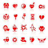 Set valentine's day red icons, love romantic symbols — Stock Vector