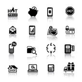 Shopping Icons black with reflection — Stock Vector