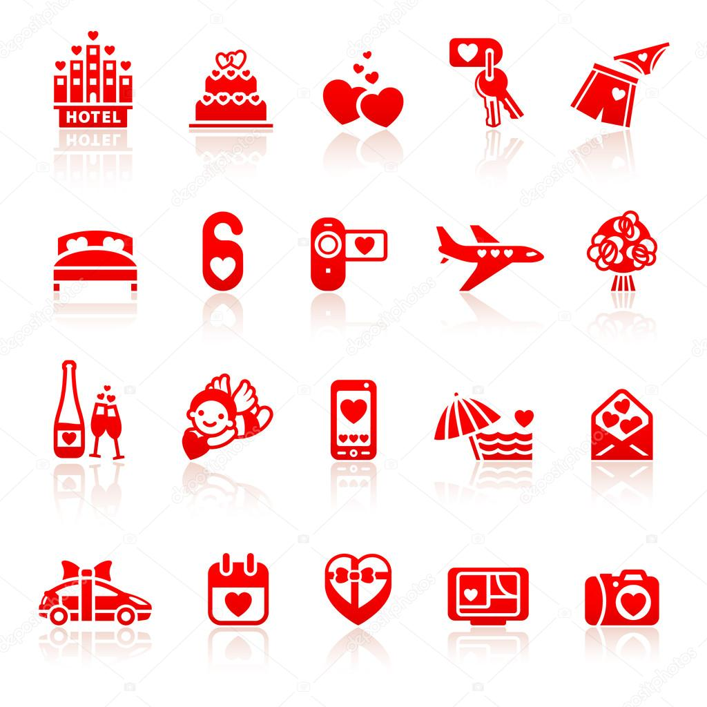 Set valentine's day red icons, romantic travel symbols — Stock Vector #19700507