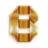 Carta a fita do metal ouro - b — Vetor de Stock