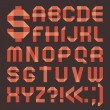 Font from reddish scotch tape - Roman alphabet — Vector de stock