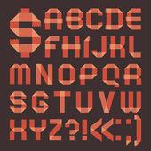 Font from reddish scotch tape - Roman alphabet — Stock Vector