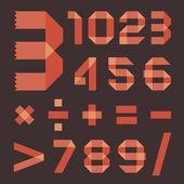 Font from reddish scotch tape - Arabic numerals — Stock Vector