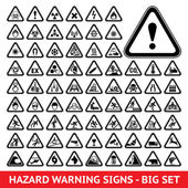Triangular Warning Hazard Symbols. Big set — Stock Vector