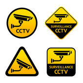 Video surveillance, set stickers — Stock Vector