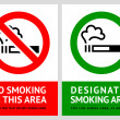 No smoking and Smoking area labels - Set 10 - Stock Vector
