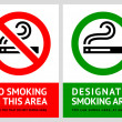 Постер, плакат: No smoking and Smoking area labels Set 8
