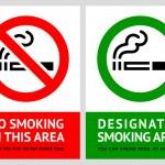 No smoking and Smoking area labels - Set 9 — Stock Vector #19999571