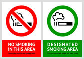 No smoking and Smoking area labels - Set 10 — Stock Vector