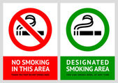 No smoking and Smoking area labels - Set 6 — Stock Vector