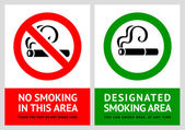No smoking and Smoking area labels - Set 7 — Stock Vector