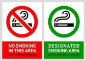 No smoking and Smoking area labels - Set 8 — Stock Vector