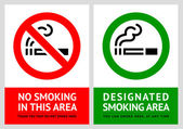 No smoking and Smoking area labels - Set 9 — Stock Vector