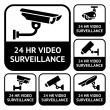 CCTV labels. Set symbols video surveillance, vector illustration — Stock Vector