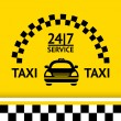 Taxi symbol, and car on the  background — Stock Vector