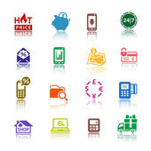 Set pictograms Shopping Icons. Color with reflection — Stock Vector