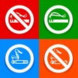 Stickers multicolored. No smoking area labels — Stock Vector