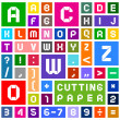 Alphabet of paper, cut out, white on multicolor background - Stock Vector