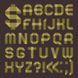 Font from greenish scotch tape -  Roman alphabet - Imagen vectorial