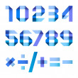 Spectral letters folded of paper blue ribbon - Arabic numerals — Vector de stock