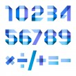 Spectral letters folded of paper blue ribbon - Arabic numerals — 图库矢量图片