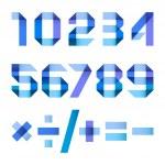 cartas espectrales doblado de papel blue ribbon - arábigos — Vector de stock