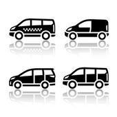 набор иконок, транспорт - грузовые ван, — Cтоковый вектор