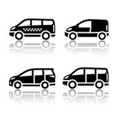 Ensemble d'icônes de transport - fourgon de cargaison, — Vecteur