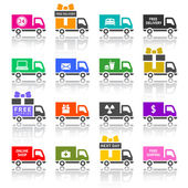 Set of truck colored icons — Stock Vector