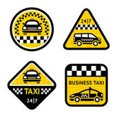 Taxi - set four stickers — Stock Vector