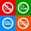 Stickers multicolored - No smoking symbol — Stock Vector
