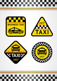 Racing Background vertical and Taxi - set retro stickers — Stock Vector