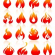 Fire flames redish, set icons — Stock Vector