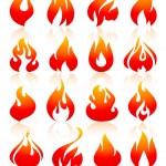 brand vlammen redish, pictogrammen instellen — Stockvector