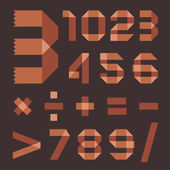 Font from brownish scotch tape - Arabic numerals — Stockvektor