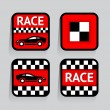 Race - set stickers square on the gray background — Stock Vector