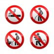 Set prohibited signs - Toilet stickers — Stock Vector #22502787