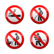 Set prohibited signs - Toilet stickers — Stock Vector