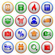 Shopping Icons. Colorful round buttons — Stock Vector
