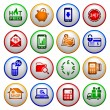 Shopping Icons. Colored round buttons — Stock Vector