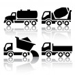 Set of transport icons - Tipper and Concrete mixer truck — Stock Vector