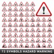 Triangular Warning Hazard Symbols. Big red set — Stock Vector