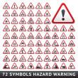 Triangular Warning Hazard Symbols. Big red set — Stock Vector