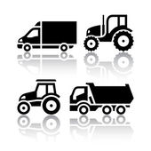Set of transport icons - Tractor and Tipper — Stock Vector