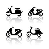 Set of transport icons - scooter and moped — Stock Vector