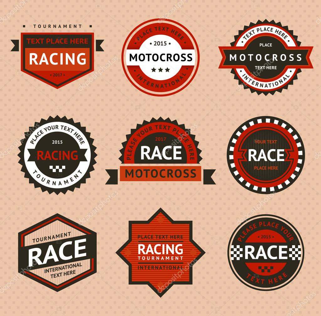 Racing badges vintage style stock vector ecelop 23291802 - Vintage style images ...